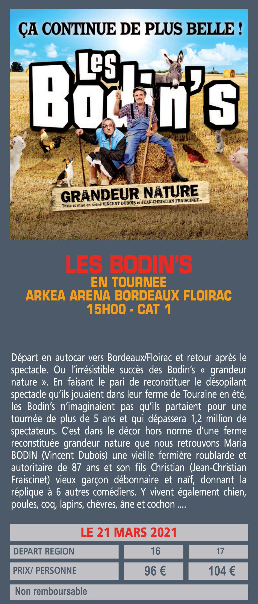 LES BODIN'S EN TOURNEE ARKEA ARENA BORDEAUX FLOIRAC